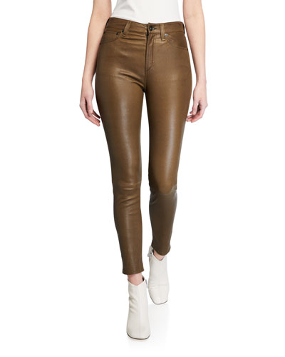 Nina High-Rise Skinny Leather Ankle Pants