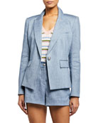 Veronica Beard Danielle One-Button Dickey Jacket
