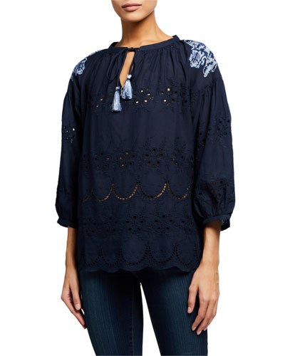Brenna Nay Tassel-Neck Eyelet Top