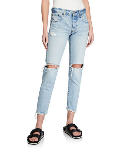 Yardley Tapered Ripped-Knee Jeans