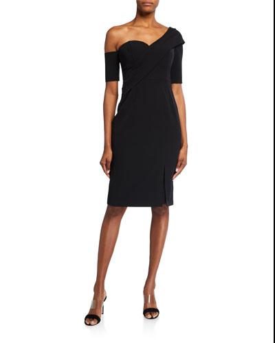 One-Shoulder Crepe Asymmetric Draped Cocktail Dress