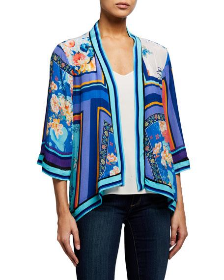 Tolani Plus Size Karma Plum Print Kimono