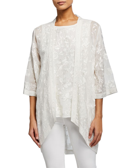 Tolani Plus Size Mantra Embroidered Kimono Jacket