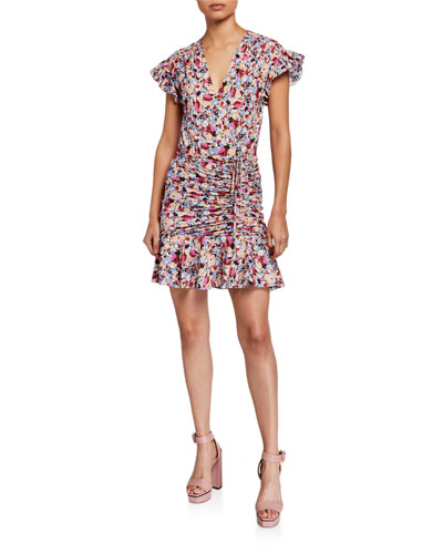 Marla Ruched Floral-Print Short Dress
