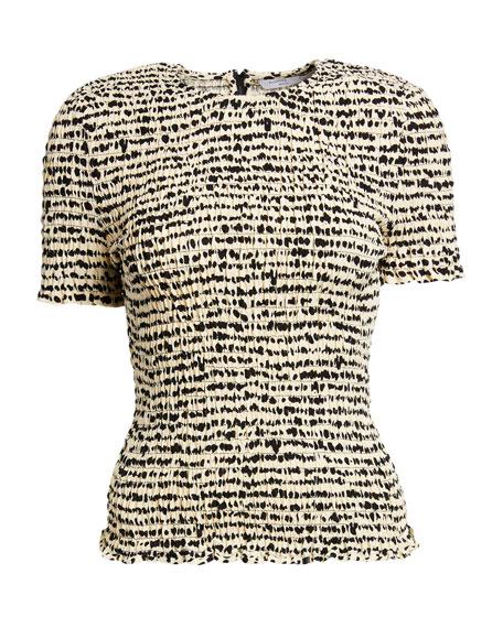 Proenza Schouler White Label Printed Georgette Short-Sleeve Smocked Top