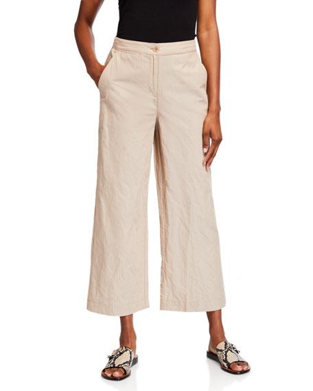 Eileen Fisher Organic Cotton Steel Wide-Leg Ankle Pants