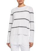 Eileen Fisher Striped Organic Linen/Cotton Crewneck Sweater