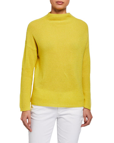 Textured Italian Cashmere Funnel-Neck Boxy Top