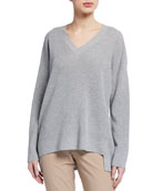 Eileen Fisher Peruvian Cotton V-Neck Tunic Sweater
