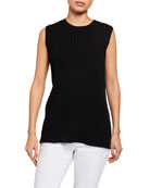 Eileen Fisher Crewneck Ribbed Organic Linen/Cotton Sleeveless Top
