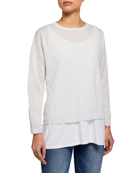 Eileen Fisher Crewneck Long-Sleeve Boxy Lyocell Metal Top