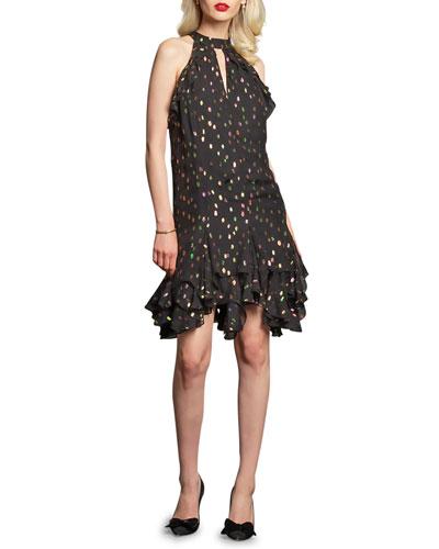 Grada Metallic Dot Ruffle-Hem Halter Dress