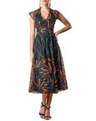 Eva Franco Marcel Embroidered Organza Midi Dress