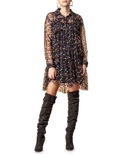 Augustina Long-Sleeve Dotted Sheer Dress