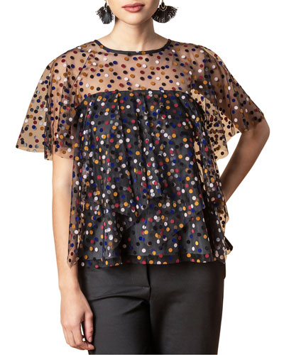 Zadie Dotted Sheer Layered Top