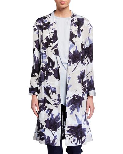 Plus Size Inky Flowers Long Jacket