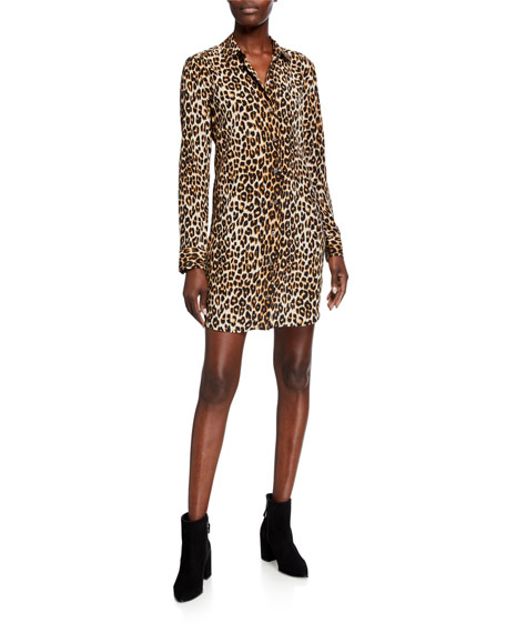 Equipment Essential Cheetah-Print Long-Sleeve Silk Dress