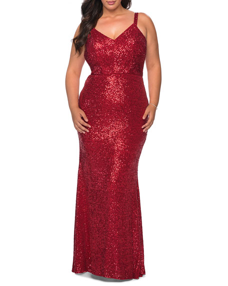 La Femme Plus Size Sequin V-Neck Sleeveless Gown w/ Crisscross Straps