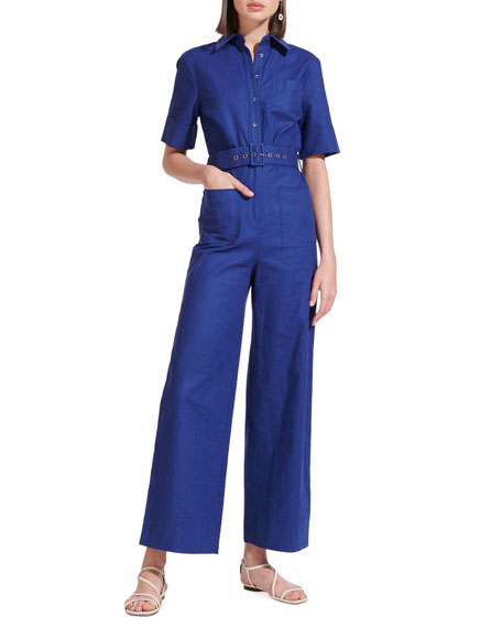 Staud Zavey Belted Jumpsuit