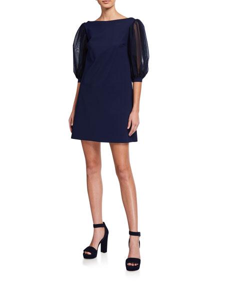 Chiara Boni La Petite Robe Organza-Sleeve A-line Dress