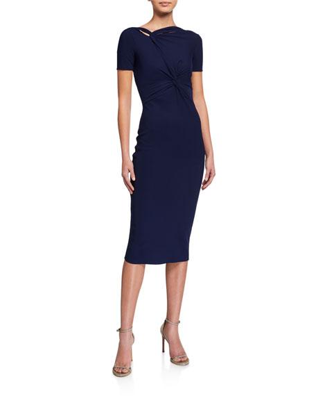 Chiara Boni La Petite Robe Short-Sleeve Knot Dress