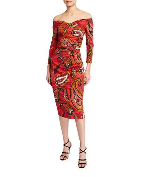 Chiara Boni La Petite Robe Paisley Print Off-the-Shoulder Sheath Dress