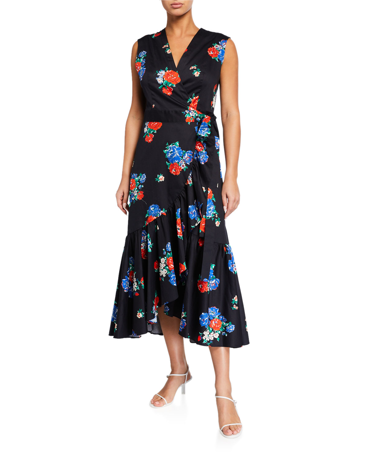 Tory Burch Cottons FLORAL-PRINT SLEEVELESS FLOUNCE WRAP DRESS