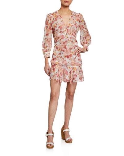 Cybil Floral Metallic Button-Front Dress