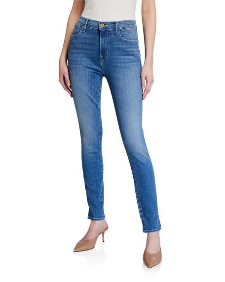 FRAME Le High Skinny Slit Jeans w/ Rivets