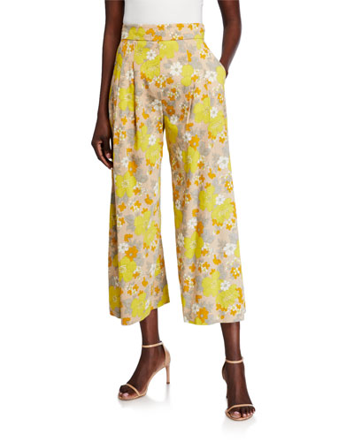 Leonor Floral-Print Wide-Leg Pants