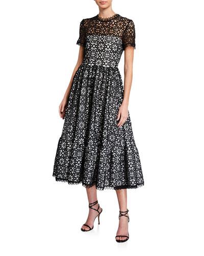Alfama Short-Sleeve Midi Lace Dress