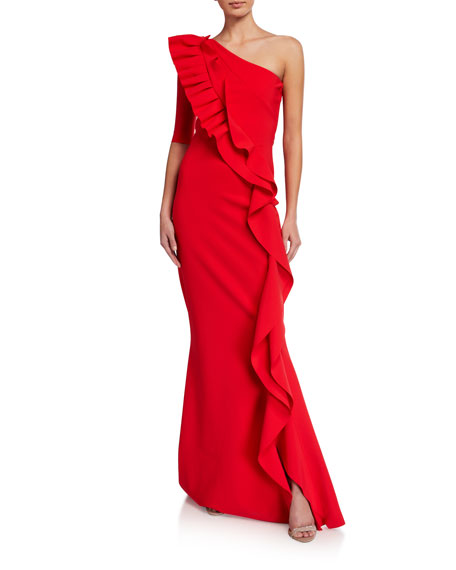 Chiara Boni La Petite Robe 1-Shoulder Ruffle-Trim Mermaid Gown
