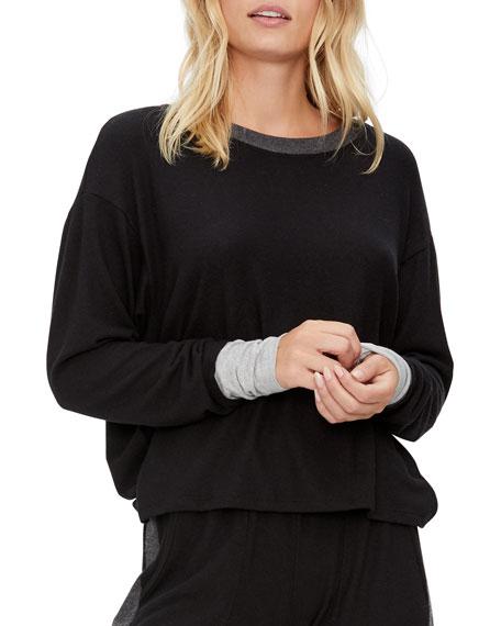 Michael Stars Chloe Scoop-Neck Contrast-Trim Sweater