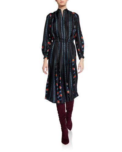 Long-Sleeve Printed Twill Dress
