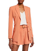 Jonathan Simkhai Collection Nadia Crepe Blazer w/ Belt