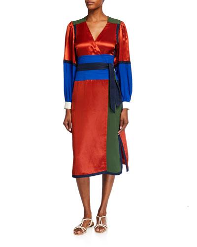 Colorblock Silk Wrap Dress