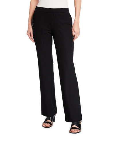 Petite Washable Stretch-Crepe Straight-Leg Pants with Pocket