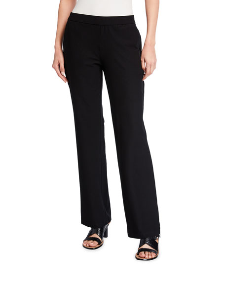 Eileen Fisher Plus Size Washable Stretch-Crepe Straight-Leg Pants with Pocket