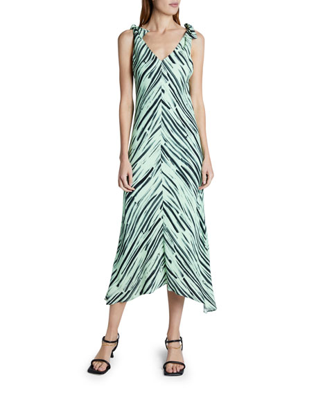 Proenza Schouler White Label Printed Georgette Sleeveless Dress