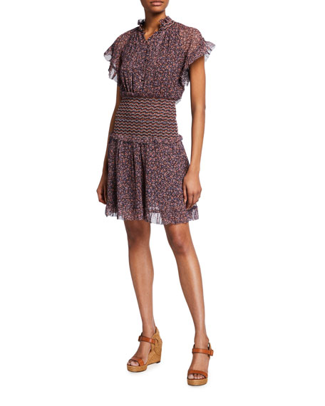 Jonathan Simkhai Serena Floral-Print Crinkle Chiffon Dress