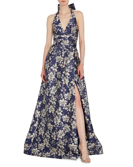 ML Monique Lhuillier Floral Jacquard Halter Gown