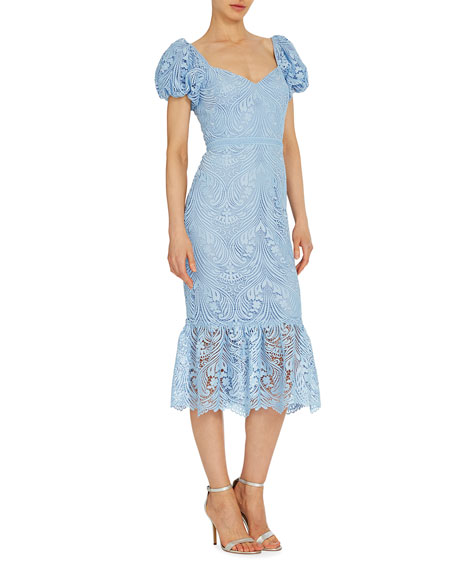 ML Monique Lhuillier Puff-Sleeve Midi Jacquard Dress