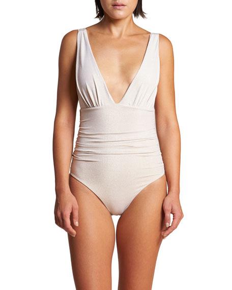 LeSwim Athena Ruched Metallic One-Piece Swimsuit