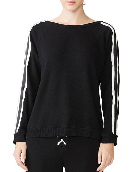 Monrow Crewneck Sweatshirt with Lace-Up Back