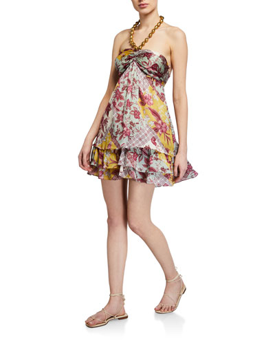 Irati Printed Halter Mini Dress