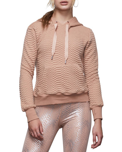 Quilted Snake Lace-Up Pullover Hoodie - Inclusive Sizing