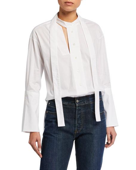 palmer//harding Astana Slit Tie-Neck Cotton Shirt