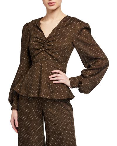 Womens Long Sleeves Striped Print Peplum Button Blazer