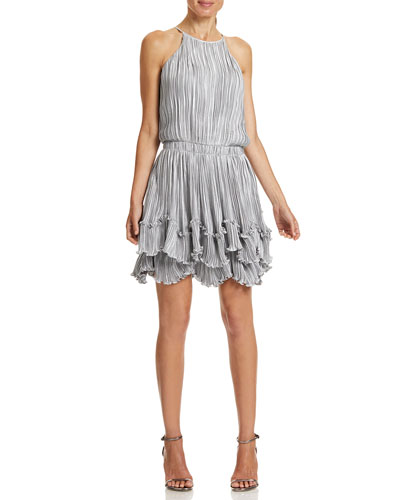 Pleated Metallic Tiered Halter Dress