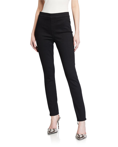 Jen7 by 7 for All Mankind Comfort Skinny Pull-On Jeans, Black